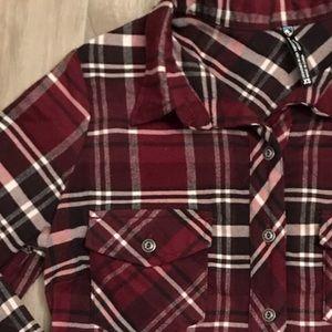 Kuhl maroon soft flannel plaid button down shirt